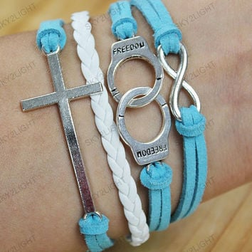 unique leather Bracelets-freedom Bracelets,cross bracelets,charm bracelets,personalized friendship bracelets ,gifts for him her, S022