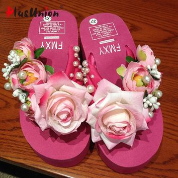 summer rose floral beach wedges flip flops slippers flower shoes house home women wedg
