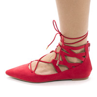 Justify16V Red By Bamboo, Cut Out Ankle Cuff Corset Lace Up Leg Wrap Ballet Flats