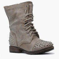 Rylie Studded Combat Boots - Stone