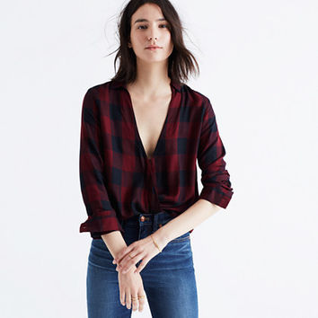 Wrap-Front Shirt in Burgundy Buffalo Check