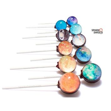 Galaxy Lollipops Planet Designs (10 Pieces) with Space Foil Gift Package