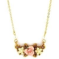 """1928 Jewelry """"Essentials"""" Gold-Tone Simulated Pearl Pink Porcelain Rose Pendant Necklace, 16""""+3"""""""
