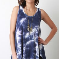 Tie Dye Sleeveless High Low Tunic Top