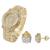 Hip Hop Fully Iced Out Yellow Gold Finish Men's Techno Pave Watch & Solitaire Earrings Combo