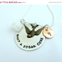 10% OFF SALE Hand Stamped Hunger Games Inspired Necklace Finnick Sugar Cubs
