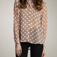 Tan Polka Dot Sheer Top