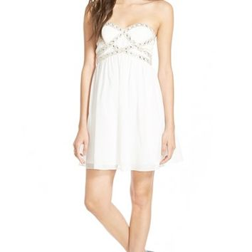 Junior Women's a. drea Embellished Bodice Strapless Skater Dress,