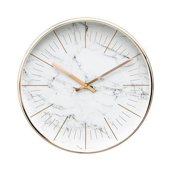 """12"""" Marble White Wall Clock"""