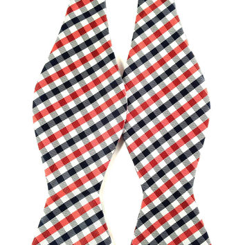 White Red Black Gingham - Self-Tied Bow Tie