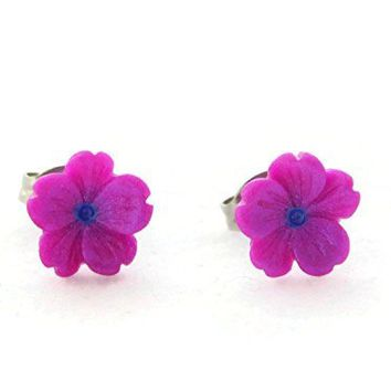Tiny Purple Sakura Flower Hypoallergenic Stud Earrings