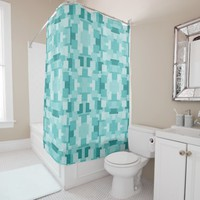 Light blue geometric blocks tiles ornament pattern shower curtain