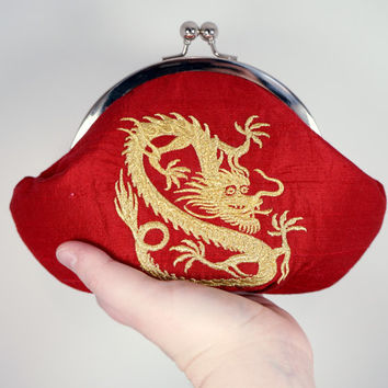 Bright red clutch purse with embroidered gold dragon, silk clutch, personalized bag, wristlet, dragon clutch