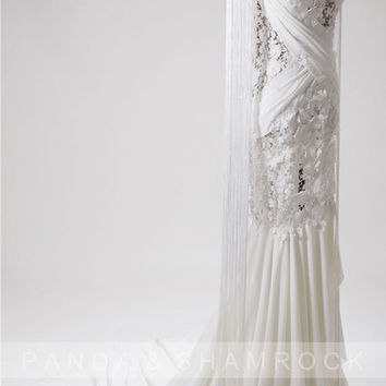 Leni/wedding gown/bridal dress/women clothing/custom made/all size/lace/half sleeve/lace/14001