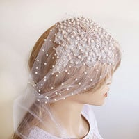 Bridal Headpiece, Pearl and Rhinestones, Wedding Hair Style, Bridal Veils, Wedding Veils, Vintage Wedding, Wedding Hair Accessories