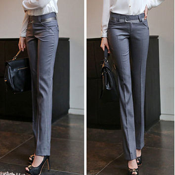 Free Shipping Summer Autumn Plus Size Pants Women New Fashion Spring OL Casual Suit pant Western-Style Trousers Casual Work Pant