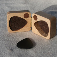 Guitar pick box Gift for Him ooak maple hard wood felt lined magnetic latch perfect for Dad