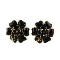 Chanel Black Gripoix Camellia Flower Clip-On Earrings with CC Logo Fall 2002