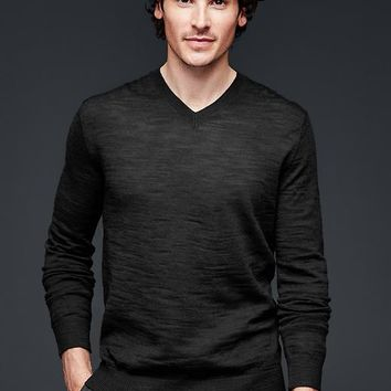 Gap Men Merino Slub V Neck Sweater Slim Fit