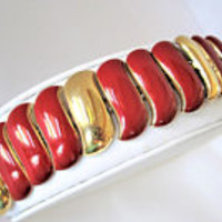Monet Red Link Bracelet, Red  Enamel, Gold Wide Links, Signed MonetBracelet