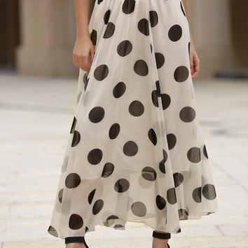 White and Black Polka Dot Chiffon Maxi Skirt