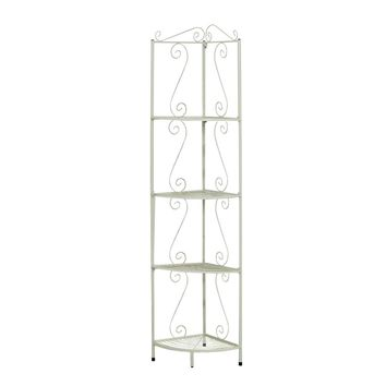 "White Hammered Metal 70""H Corner Display Etagere"