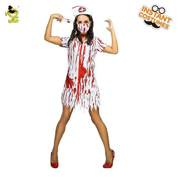 Zombie Nurse Costumes For Halloween  Scary Bloody Mary Students Roleplay Bloody Costume For Cosplay Party