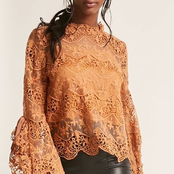 Crochet Lace Bell-Sleeve Top