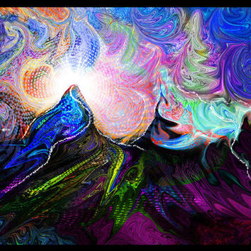 Dance of the Elements - Abstract - Spiritual - Canvas Print - Visionary Art - Psychedelic - Ayahuasca - DMT- Digital Painting.