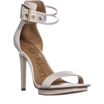 Calvin Klein Vable Ankle-Strap Square Toe Platform Sandals, Soft White, 8 US / 38 EU