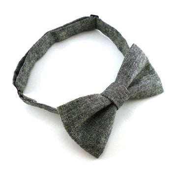 Charcoal chambray mens bow tie – pre tied adjustable – black and white linen and cotton rustic bow ties for men – adult size