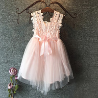 XMAS Baby Girl Princess Party Pearl Lace Tulle Flower Gown Fancy Dress Sundress Alternative Measures - Brides & Bridesmaids - Wedding, Bridal, Prom, Formal Gown