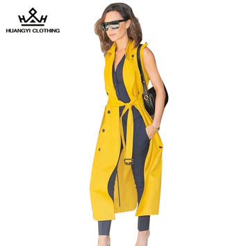 2016 Brand Autumn Victoria Beckham Women Sleeveless Turn-down Collar Double Breasted Trench Coat with Sashes