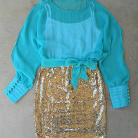 Sparkling Darling Dress in Teal