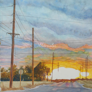 Sunset Watercolor print. Country painting. Nebraska artwork. Landscape painting. Country decor. Watercolor trees. Sunset painting.