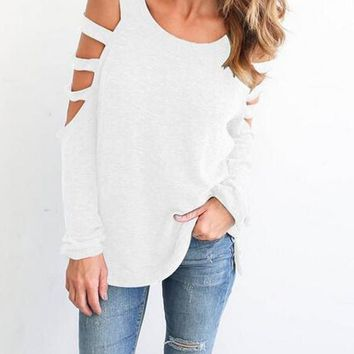 White Plain Cut Out Round Neck Long Sleeve T-Shirt