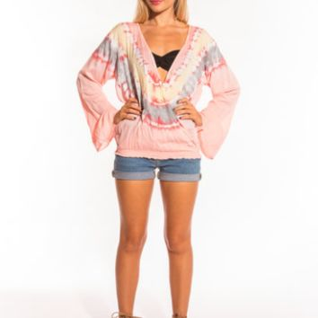 Tiare Hawaii Monsoon Top Peach/Yellow/Grey Tie Dye