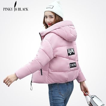 Pinky Is Black Winter Jacket Women Cotton Short Jacket Padded Slim Hooded Warm Parkas Coat Female Autumn Outerwear