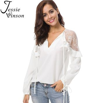 Jessie Vinson Women Long Sleeves Lace Splicing Tie up Blouse Black White Full Sleeves V-neck Shirt Office Lady Top