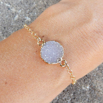 Light Purple Druzy Bracelet 24K Gold Circle Round Drusy Crystal Quartz Gold Filled Chain - Free Shipping Jewelry