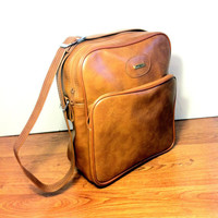 70s Chestnut Cross Body Travel Carry On Bag - Retro Vegan Leather Weekender