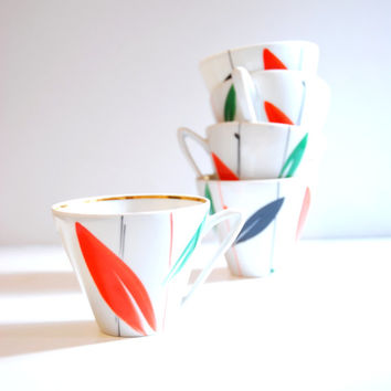 vintage soviet coffee / tea cups 5 pcs, retro porcelain, modern, abstract design, white, orange, green and black
