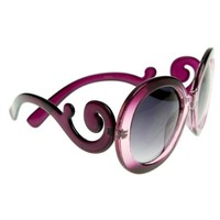 zeroUV - New Designer Inspired Oversized Womens Fashion Sunglasses w/ Baroque Swirl Arms