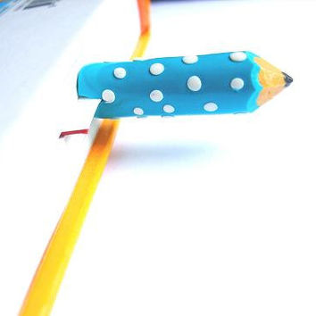 Turquoise Blue Pencil With White Dots. Polka Dots. Pencil In The Book. Unique Bookmarks. Back To School.