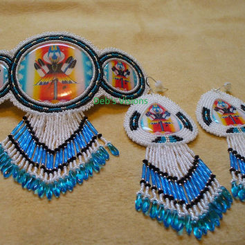 "Native American Style Rosette beaded ""Full Moon Lodge"" barrette and earring set"