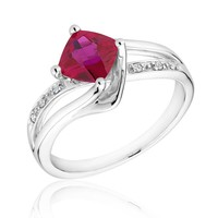 Created Ruby and Diamond Sterling Silver Ring