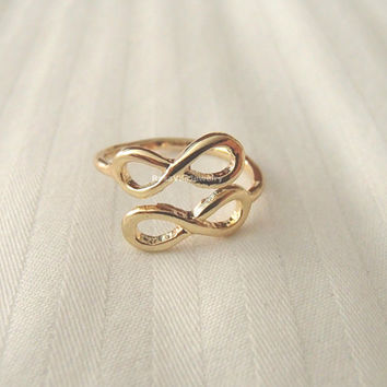 Double Infinity rings - Gold and silver, adjustable size; minimalist knuckle rings, midi ring, double infinity, dainty, cute, simple ring
