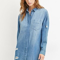 Contemporary Life in Progress Distressed Denim Shirt Dress