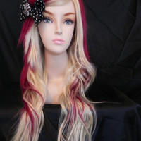 ON SALE // Strawberry Cheesecake / Auburn Red and Blonde / Long Curly Wavy Layered Wig