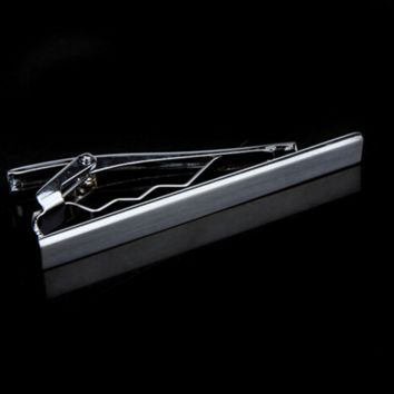 Traditional Metallic Silver Bar Tie Clip